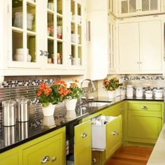 This two toned color uses a gutsy chartreuse to liven things up. Be inspired to have guts in your decor!