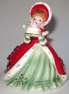 Josef Originals Beautiful Christmas Figurine Girl With Holiday Cake