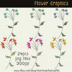Flower Graphics, Clip Art Flowers, Line Art Flowers, Floral Art Graphics, Instant Download,Wedding F