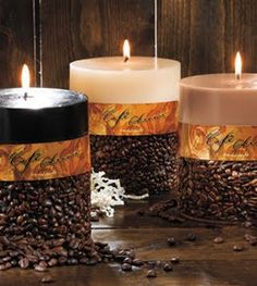 candles with coffee beans