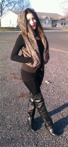 winter fall outfit-but with my new Brown jacket