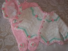 free Vintage Crochet Baby Layette Set | Crochet Baby Girl Sweater Set Layette Perfect For Baby Shower Gift or ...