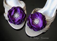 Floral Purple Wedding Shoe Clips