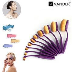 Vander Synthetic Kabuki Foundation Makeup Brush Set Purple 10Pieces *** Learn more by visiting the image link.