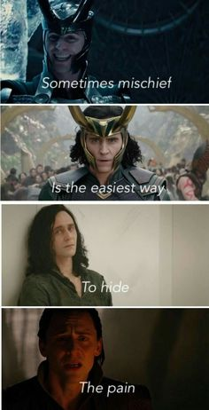 Being naughty is the easiest way to hide pain. - Marvel Universe Being naughty is the easiest way to hide pain. Being naughty is the easiest way to hide pain. - Marvel Universe Being naughty is the easiest way to hide pain. Avengers Humor, Marvel Quotes, Funny Marvel Memes, Loki Quotes, Loki Meme, Marvel Films, Loki Thor, Marvel Heroes, Marvel Avengers