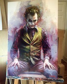 Joker (Heath Ledger) from Batman – The Dark Knight movie, oil and acrylic painting on canavas by Ben Jeffery from UK Batman Film, Le Joker Batman, Heath Ledger Joker, Joker Art, Joker And Harley Quinn, Batman Dark, Knight Art, Dark Knight, Batman Painting