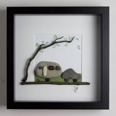 A hand-made item using the pebbles and materials from the beaches along the south coast of England and the f… Pebble Pictures, Stone Pictures, Stone Crafts, Rock Crafts, Pebble Stone, Stone Art, Pebble Art Family, Rock Sculpture, Rock And Pebbles