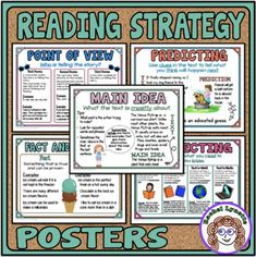 Reading Strategies Posters - Mini Anchor Charts for Word Walls and Reference 3rd Grade Reading, Guided Reading, Third Grade, Teaching Jobs, Teaching Strategies, Teaching Resources, Reading Strategies Posters, Reading Posters, Classroom Posters