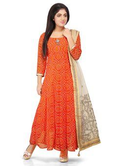 Abaya fashion - Printed Georgette Abaya Style Suit in Orange Silk Kurti Designs, Churidar Designs, Kurta Designs Women, Kurti Designs Party Wear, Dress Designs, Blouse Designs, Dress Indian Style, Indian Outfits, Abaya Style
