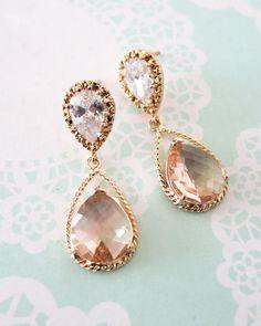 Gold Champagne Teardrop Jewelry Set, bridesmaids earrings, wedding bridal shower gifts, brides, personalised message, www.glitzandlove.com