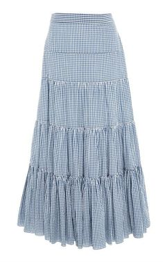 This **Caroline Constas** Gingham Peasant Skirt features a high waisted fit and tiered design. Peasant Skirt, Dress Skirt, Skirt Outfits Modest, Tiered Skirts, Fashion Dresses, Clothes For Women, Blue Gingham, Women's Casual Looks, Woman Style