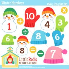 Clip Art: Winter Numbers - Winter-themed clipart. For personal, education and small-business use.$