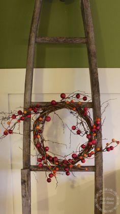 diy fall wreath on ladder