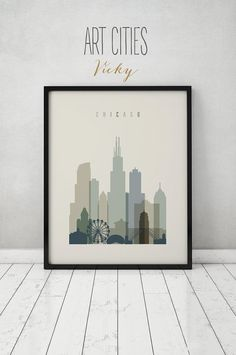 Chicago print, Poster, Wall art, Illinois, Chicago skyline, City poster, Typography art, Gift, Home Decor Digital Print, ART PRINTS VICKY.