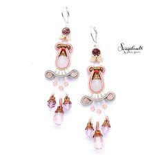 Light pink and dove gray soutache earring. Hand by Sengabeads