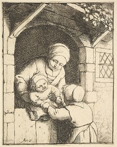 Little Girl Playing with a Baby in its Mother's Arms Adriaen van Ostade (Dutch, Haarlem 1610–1685 Haarlem) Date: 1610–85 Medium: ...