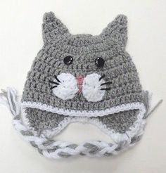 "CROCHET CAT KITTY EAR FLAP BABY HAT infant toddler adult beanie cap photo prop[preemie 12""-13""]"