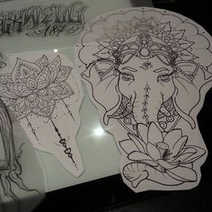 … the last things - tatoo feminina Sternum Tattoo, Ganesha Tattoo Mandala, Mandala Elefant Tattoo, Lotus Tattoo, Ganesha Tattoo Thigh, Ganesha Tattoo Sleeve, Ganesha Drawing, Tattoo Ink, Foot Tattoos