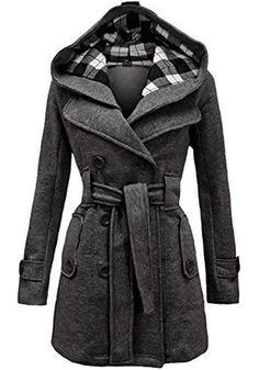 Grey Plain Belt Double Breasted Long Sleeve Hooded Fashion Wool Coat