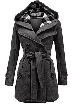 Love the Plaid Lining! Silver Grey Plaid Belted Double Breasted Fashion Wool Winter Coat #Silver #Grey #Plaid #Winter #Coat #Fashion #Outerwear