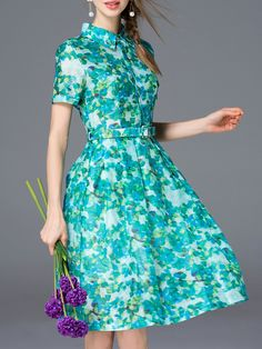 Green+Lapel+Floral+Belted+A-Line+Dress+58.99
