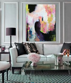 Large original abstract painting, acrylic paint, abstract modern art on Etsy, $350.00