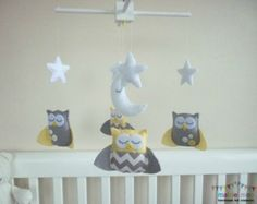 Dreamtime Baby Owls - Pale Lemon and Grey Felt Baby Mobile - with Chevron and Buttons