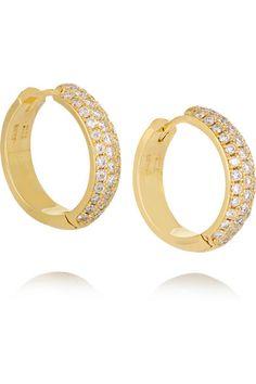 Jennifer Meyer | Huggie 18-karat gold diamond hoop earrings | NET-A-PORTER.COM
