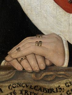 Detail of Portrait of a Young Woman, 1480 by Hans Memling. I love the attention to detail here - the wealth and status of the person is intimated by the amount of gold rings.