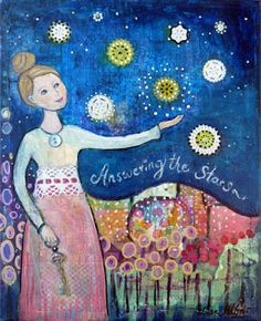 Answering the stars Art Print 21 x 30 cm/ x by LiseMeijer Star Art, Listening To You, My Arts, Handmade Gifts, Art Prints, Stars, Artist, Blog, Cosmic