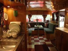 vintage travel trailer - original interior - I like the cabin feel of this interior