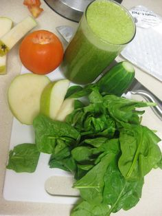 1 Tomato  1 Pear  1/2 Cucumber  2 Cups spinach