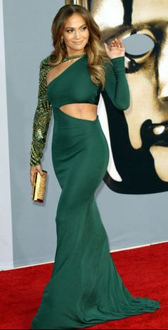 JLo Jennifer Lopez in green evening gown dress with cutouts