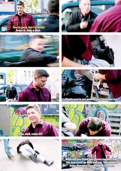 "10x02 Reichenbach [gifset] - ""You're good, but I'm better."" ""Prove it. Take a shot."" - Cole and Demon Dean Winchester, Supernatural"