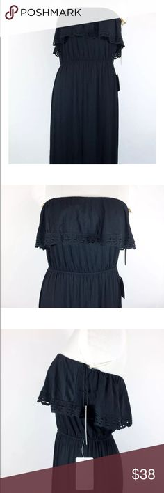 """NWT Felicity & Coco Black Maxi Dress Crochet Trim NWT Felicity & Coco Black Maxi Dress Strapless Crochet Trim Soft Size Small  Regular Price $78  95% Viscose/ 5% Spandex- very soft.   Measurements: Taken Flat  Sleeve Length: Strapless  Bust (Arm pit to arm pit X 2)- 26"""" Has elastic and stretches to about 40""""  Waist- 22"""" Has elastic, so can stretch to approximately 38""""  Length (Bust to bottom hem)-  58""""  Bin#17 Felicity & Coco Dresses Maxi"""