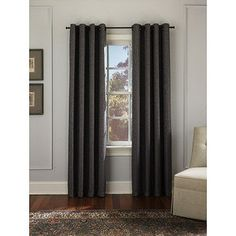 I love these curtains from... Walmart?!?! Never thought I'd say that! Hugo Tweed Grommet Panel, Dark Grey