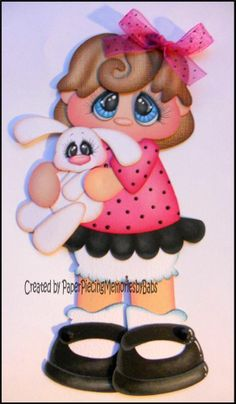 Premade Little Girl with Bunny Paper Piecing for Scrapbook Pages-By Babs