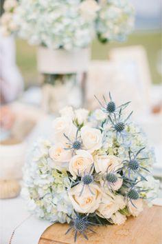 Bridal bouquet with thistles   Rebecca Arthurs Photography   http://burnettsboards.com/2014/01/shipwreck-themed-wedding-inspiration-shoot-maui/
