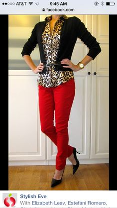 I love this outfit. Cheetah and red pants, have the red pants, looking for the shirt… I love this outfit. Cheetah and red pants, have the red pants, looking for… Fashion Mode, Work Fashion, Womens Fashion, Fashion Styles, Nail Fashion, Fashion 2015, Classy Fashion, Red Fashion, Fashion Pants