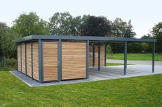 This wooden carport is designed to add texture to the metal frames of the carpot.also, the wooden material makes it easier to handle the carport. Carport Modern, Double Carport, Garage Double, Carport Plans, Carport Garage, Pergola Plans, Pergola Ideas, Carport Canopy, Pergola Carport