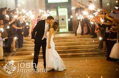 Andrea & David |Soldiers & Sailors Memorial Hall & Museum | Pittsburgh Wedding Venue | Wedding Reception | Historic Wedding | July Wedding | Wedding | Josh Mariana Photography | Grand Ballroom | Summer Weddings | Oakland | Sparkler Sendoff