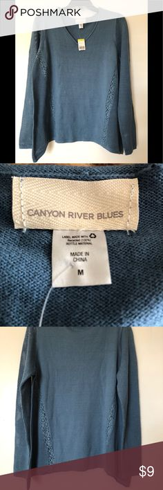 🌺 NWT Nice Canyon River Blues Tops 🌸 Lovely Blue-Gray colored sweaters. I really love the color but it's a little big for me. Sweaters V-Necks
