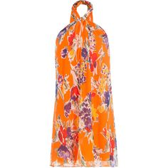Polo Ralph Lauren Printed Silk Halter Neck Dress ($350) ❤ liked on Polyvore featuring dresses, orange, halter dress, loose dress, summer dresses, silk floral dress and orange halter dress