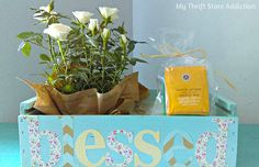 Instead of the usual gift basket, create a friendship blessing box with fresh flowers, herbal tea and a handwritten blessing! mythriftstoreaddiction.blogspot.com