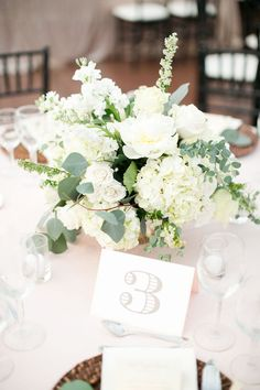 eucalyptus and white hydrangea wedding centerpiece table flowers 20 Greenery Wedding Centerpieces You'll Love Low Wedding Centerpieces, Wedding Table Flowers, White Wedding Flowers, Floral Centerpieces, Floral Wedding, Trendy Wedding, White Flowers, Chic Wedding, White Weddings