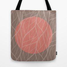 Peach & Gray Jungle Moon Tote Bag