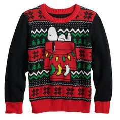 Making Ugly Christmas Sweaters, Christmas Clothes, Holiday Sweater, Snoopy Christmas, Jumping Beans, Peanuts Snoopy, Boy Outfits, Knit Crochet, Festive