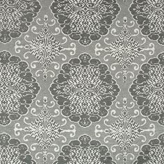 Charcoal Grey Pewter and Ivory Medallion Upholstery Fabric -