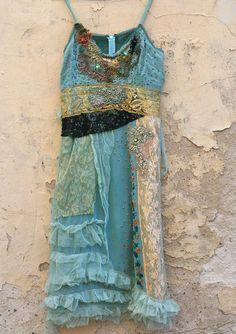 Mermaid dress romantic hand embroidered silk dress by FleurBonheur