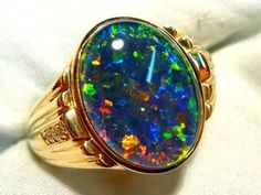 Mens Opal Ring Yellow Gold Natural Opal by AussieGemOpals - silver mens jewelry, cheap mens jewelry, cool mens jewelry Mens Gemstone Rings, Diamond Gemstone, Opal Rings, Men's Jewelry Rings, Opal Jewelry, Diamond Jewelry, Jewellery, Silver Rings With Stones, Mens Silver Rings
